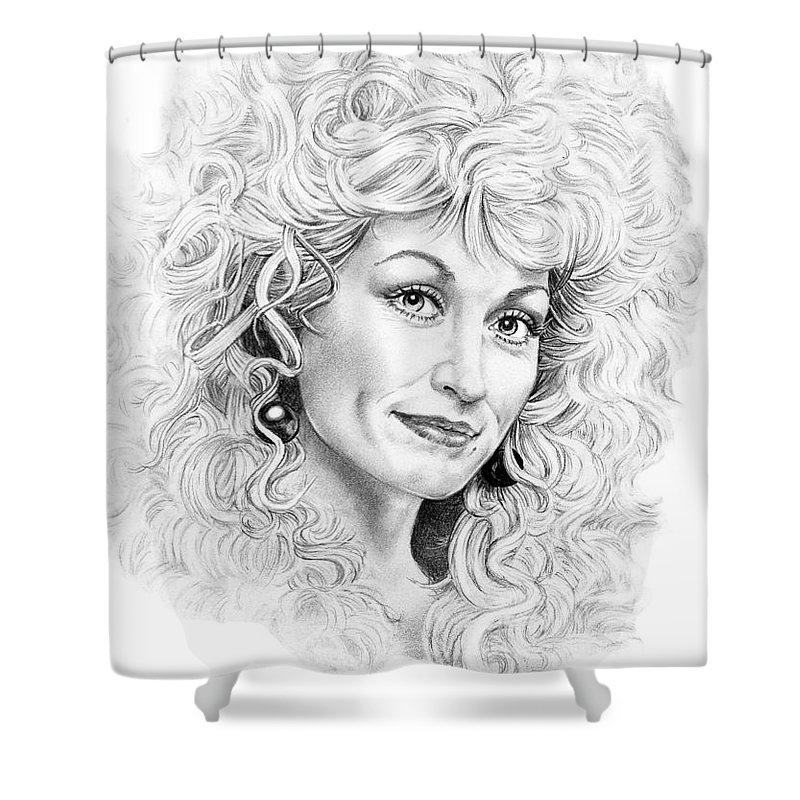 Portrait Shower Curtain featuring the drawing Dolly Parton by Murphy Elliott