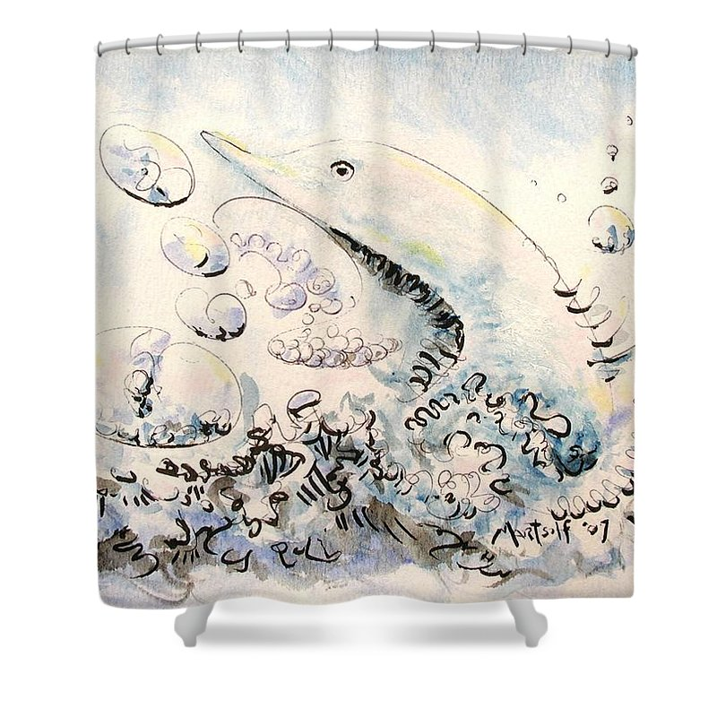 Dolphin Shower Curtain featuring the painting Dolphin by Dave Martsolf