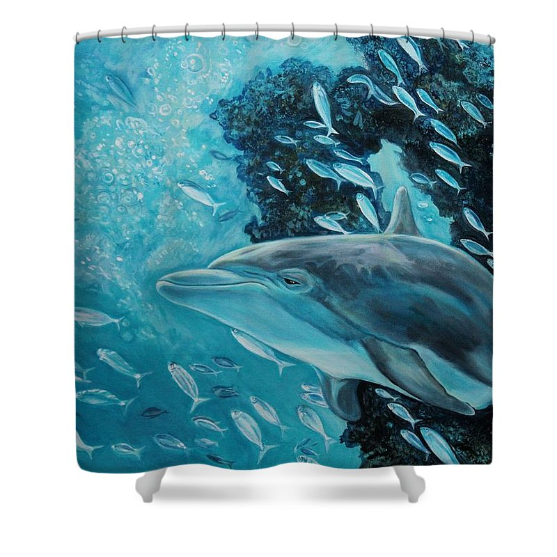 Underwater Scene Shower Curtain featuring the painting Dolphin With Small Fish by Diann Baggett