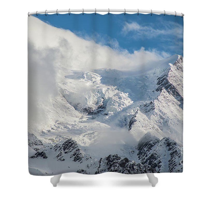 Alps Shower Curtain featuring the photograph Dome Du Gouter In The Clouds by Benjamin Reed