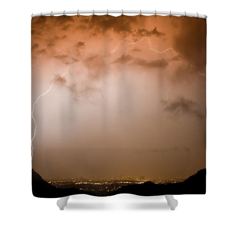 Lightning Shower Curtain featuring the photograph Dome Of Lightning by James BO Insogna