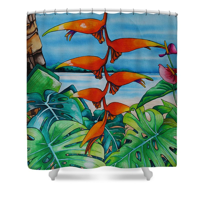 Heliconia Shower Curtain featuring the painting Dominican Heliconia by Helen Weston