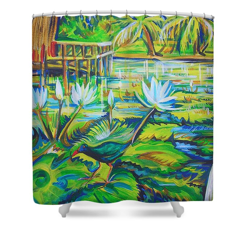 Tropics Shower Curtain featuring the painting Dominicana by Anna Duyunova