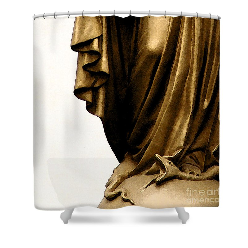 Statue Shower Curtain featuring the photograph Dominion Over The Serpent by Linda Shafer