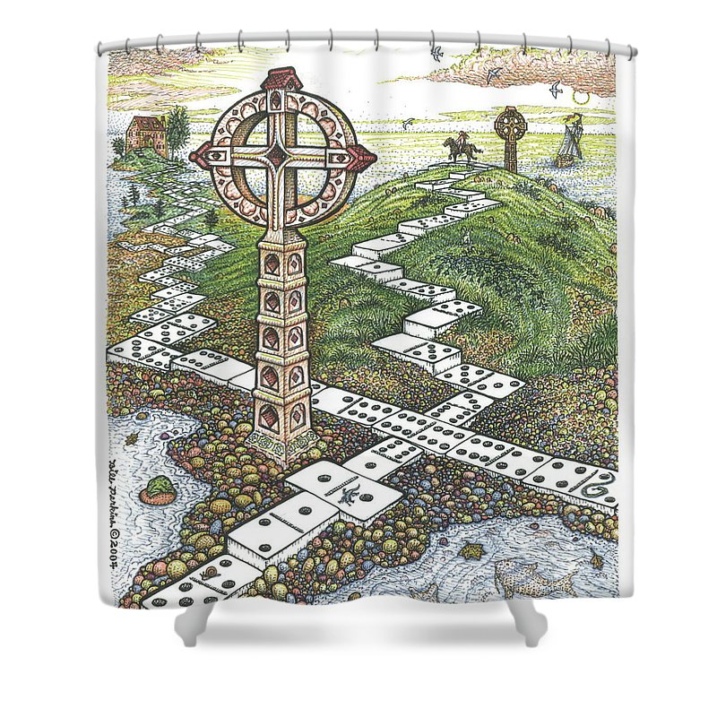 Landscape Shower Curtain featuring the drawing Domino Crosses by Bill Perkins