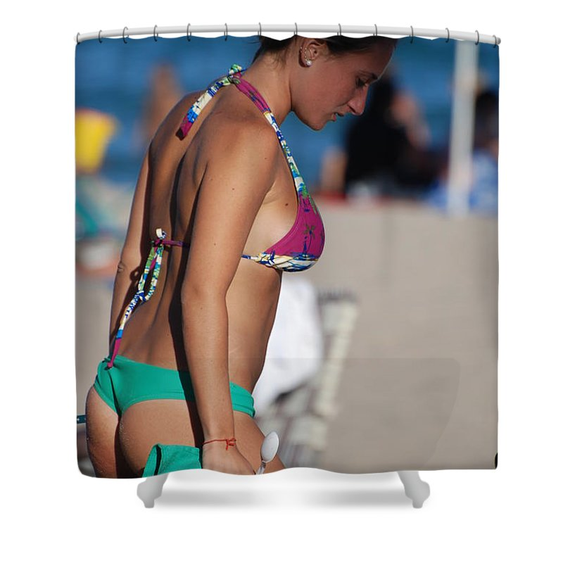 Girl Shower Curtain featuring the photograph Domino by Rob Hans