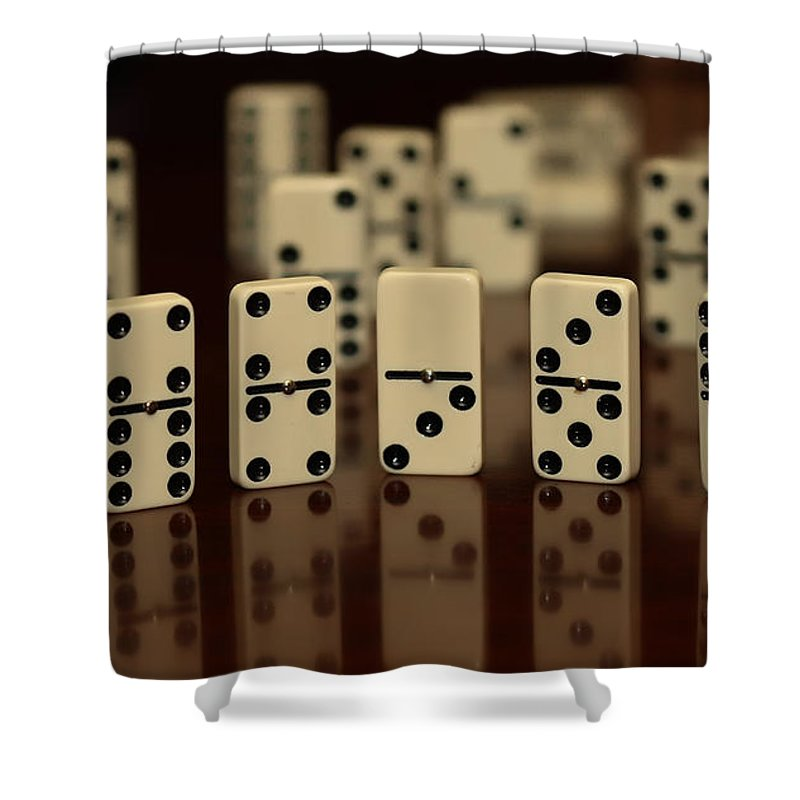 Dominos Shower Curtain featuring the photograph Dominos by Cherie Duran