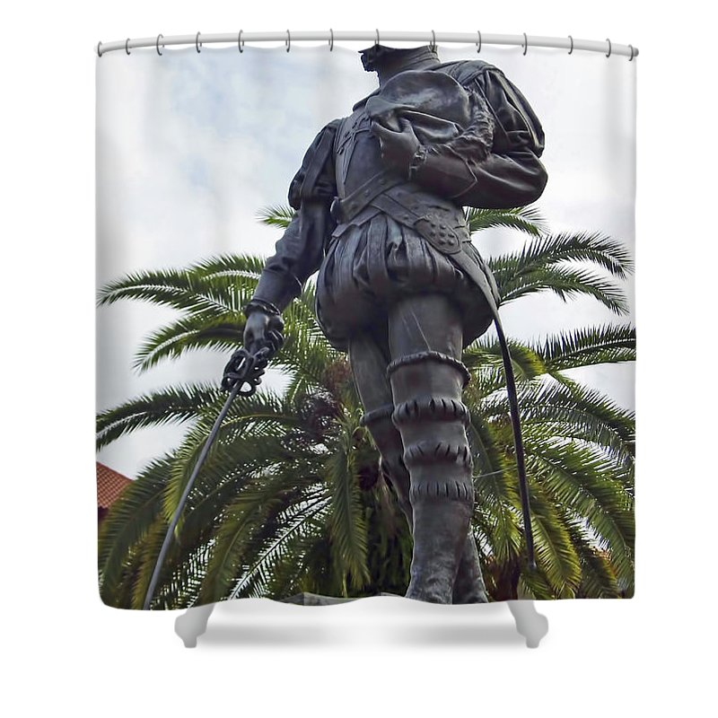 Statue Shower Curtain featuring the photograph Don Pedro Menendez by D Hackett