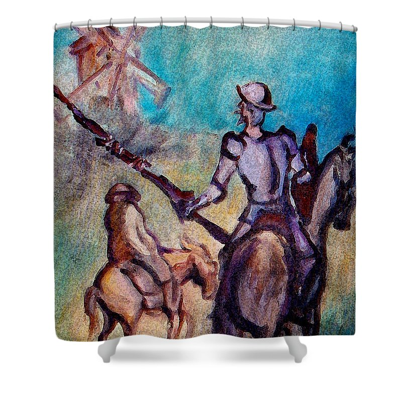 Don Quixote Shower Curtain featuring the painting Don Quixote With Windmill by Kevin Middleton