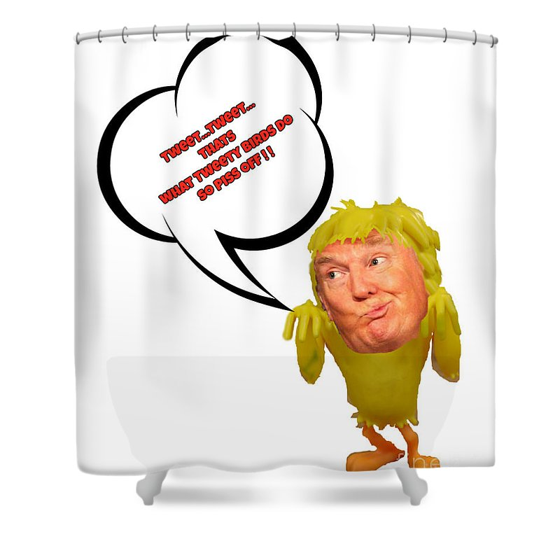Donald Trump Twitter Parody Shower Curtain Featuring The Painting By John Malone