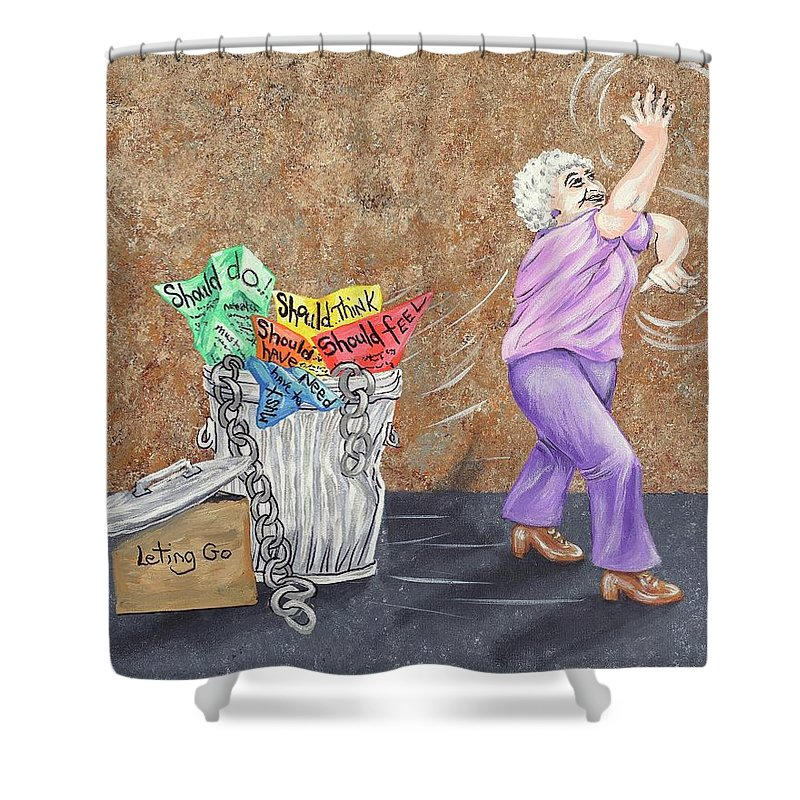 Should Shower Curtain featuring the painting Done With All Of That by Ravan Powell