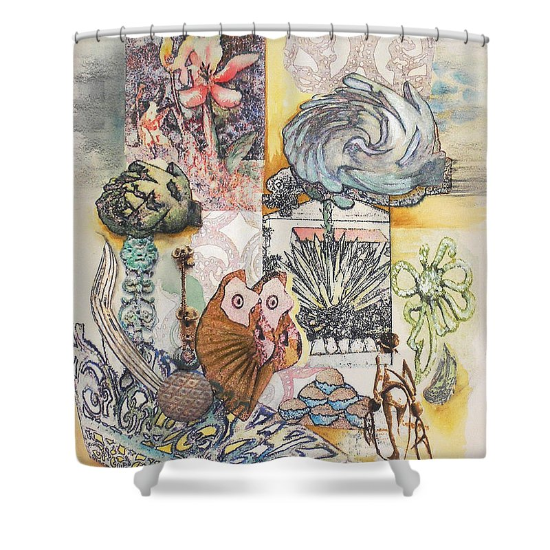 Abstract Shower Curtain featuring the painting Don't Artichoke by Valerie Meotti