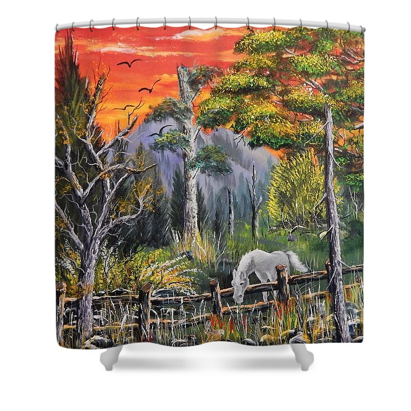 Horse Shower Curtain featuring the painting Don't Fence Me In by Ken Farnsworth