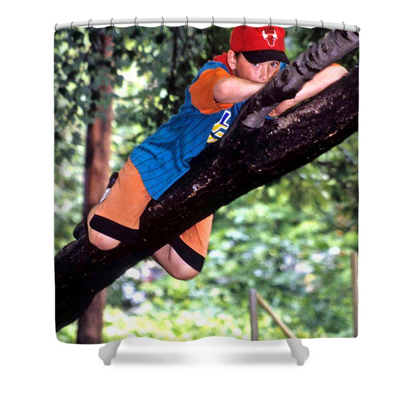 Boy Climbing Tree Shower Curtain featuring the photograph Don't Forget To Dream by Laurie Paci