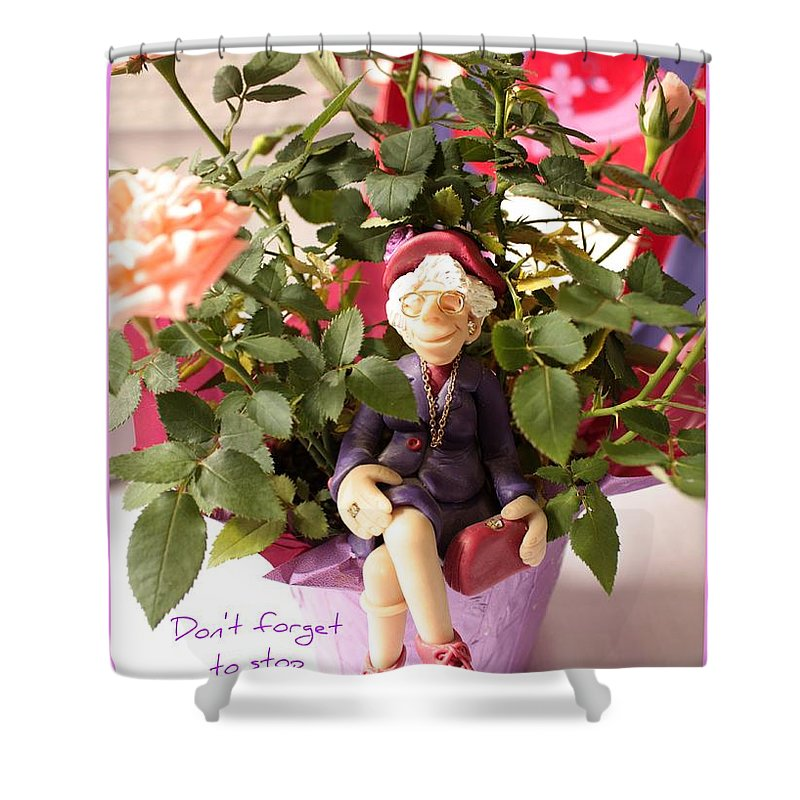 Red Hats Shower Curtain featuring the photograph Don't Forget To Stop And Smell The Roses by Carol Groenen