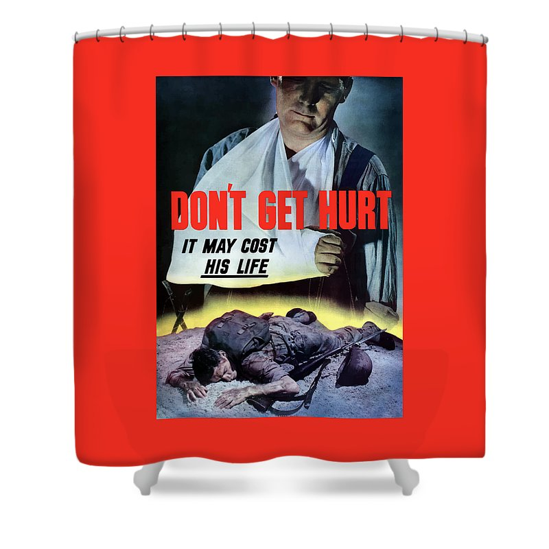World War Ii Shower Curtain featuring the painting Don't Get Hurt It May Cost His Life by War Is Hell Store