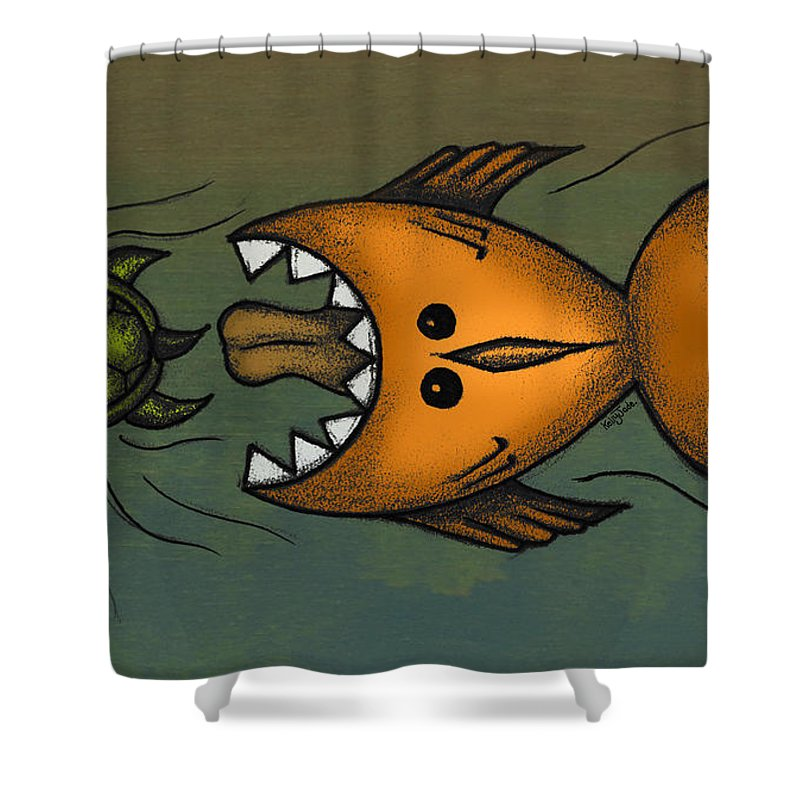 Fish Shower Curtain featuring the digital art Don't Look Back by Kelly Jade King