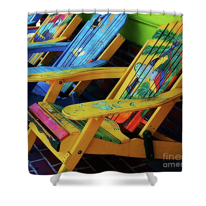 Chairs Shower Curtain featuring the photograph Dont Worry Be Happy by Debbi Granruth