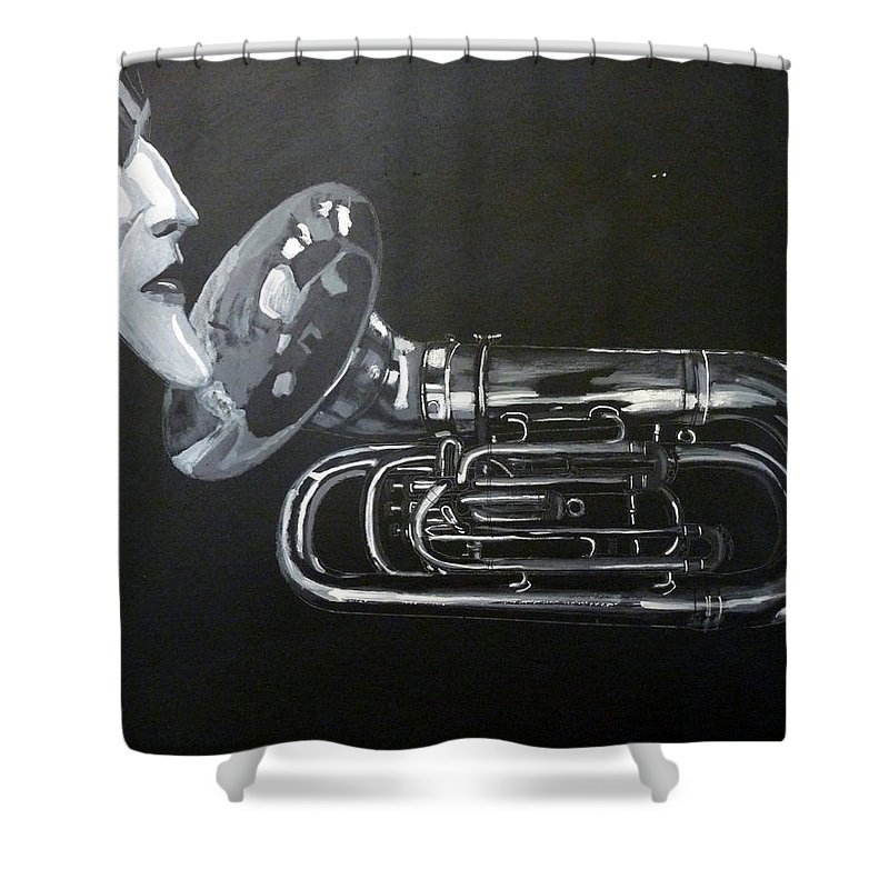 Tuba Shower Curtain featuring the painting Don't You Dare Play That by Richard Le Page
