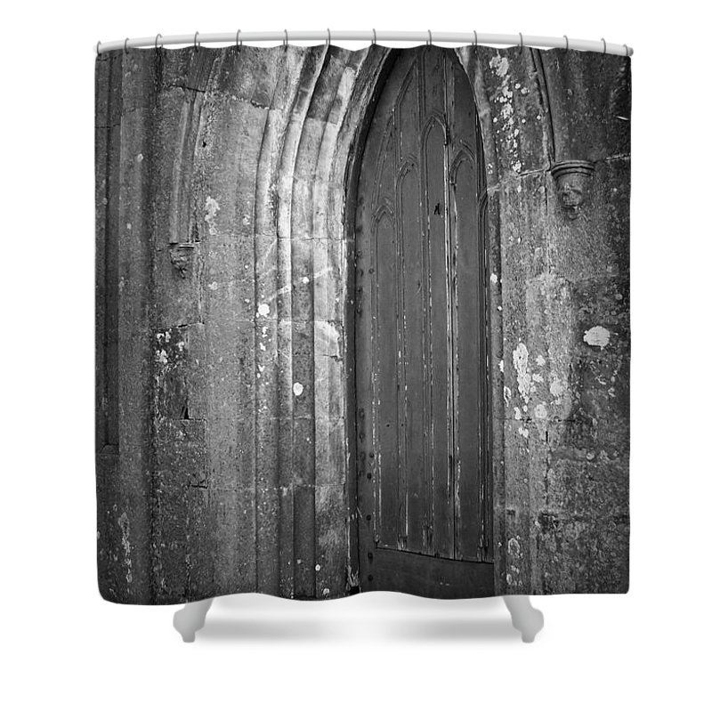 Irish Shower Curtain featuring the photograph Door At Protestant Church Macroom Ireland by Teresa Mucha
