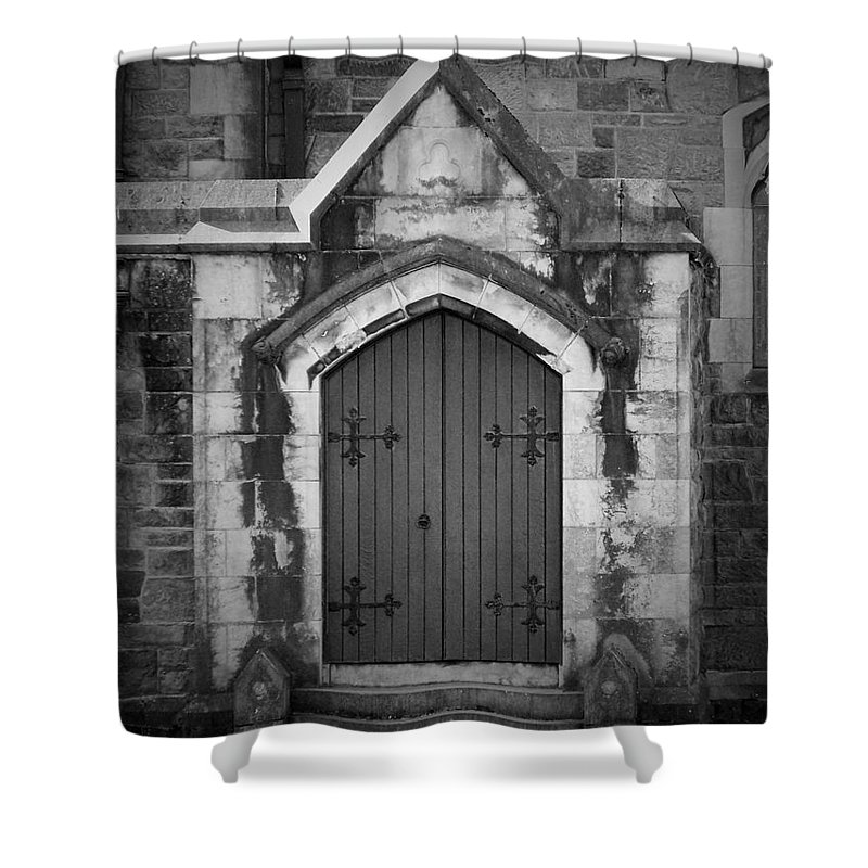 Irish Shower Curtain featuring the photograph Door At St. Johns In Tralee Ireland by Teresa Mucha
