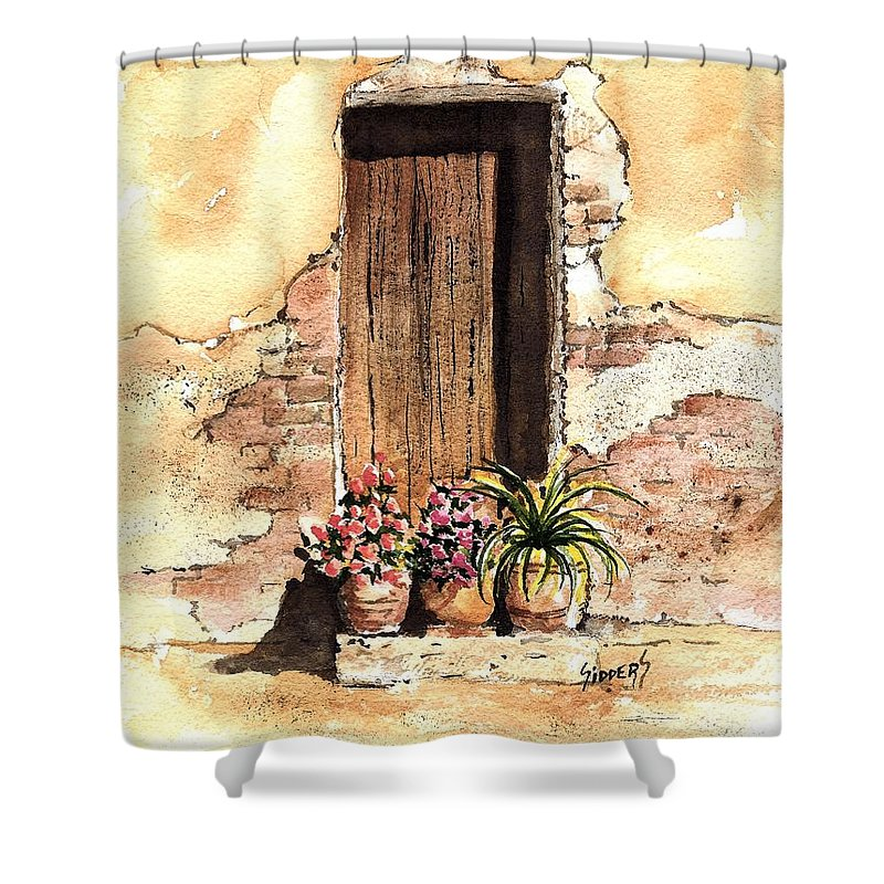 Door Shower Curtain featuring the painting Door With Flowers by Sam Sidders