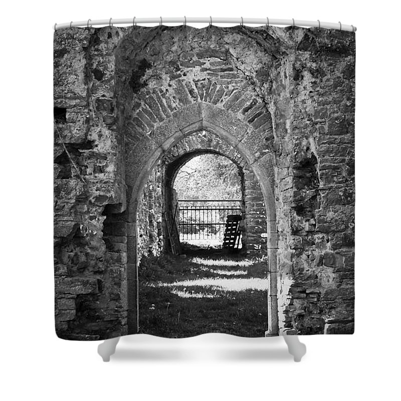Irish Shower Curtain featuring the photograph Doors At Ballybeg Priory In Buttevant Ireland by Teresa Mucha