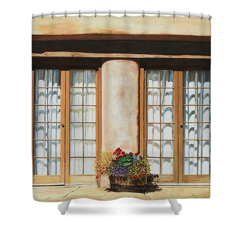 Usa Shower Curtain featuring the painting Doors Of Santa Fe by Mary Rogers