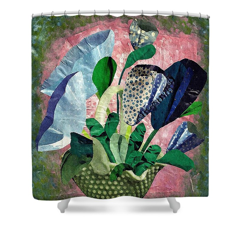 Floral Shower Curtain featuring the mixed media Dot Bouquet by Sarah Loft
