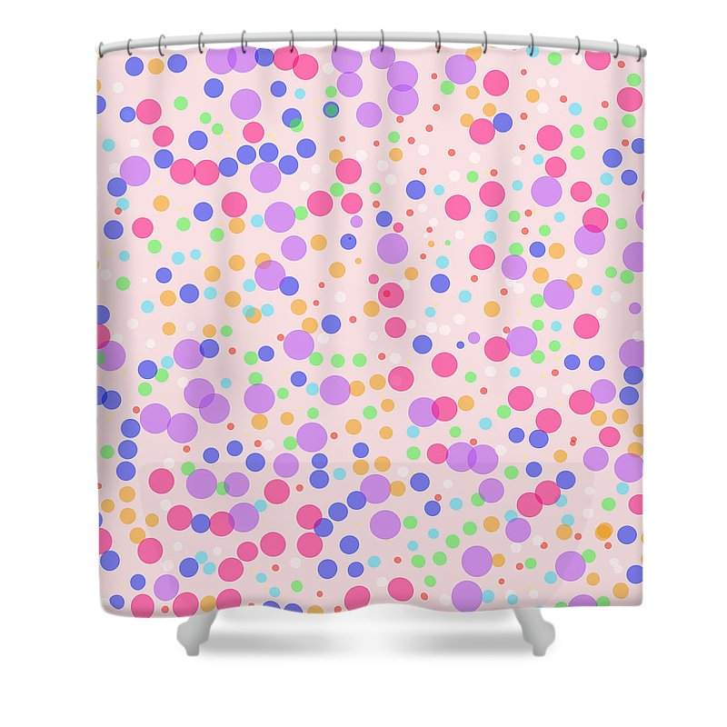 Pattern Shower Curtain featuring the photograph Dots On Pink Background by Lena Photo Art