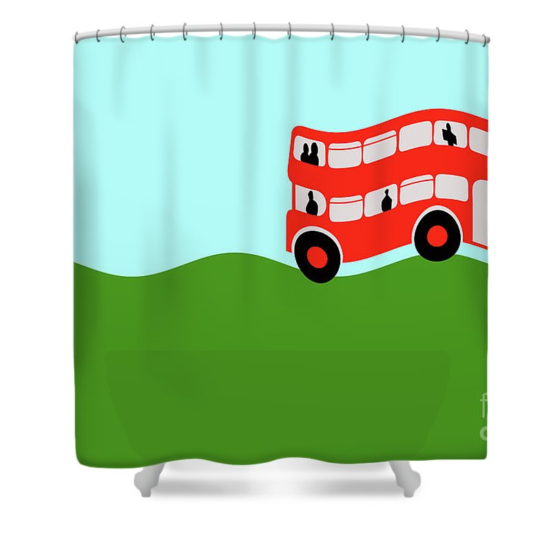 Great Britain Shower Curtain featuring the digital art  Double Decker Bus by Richard Wareham