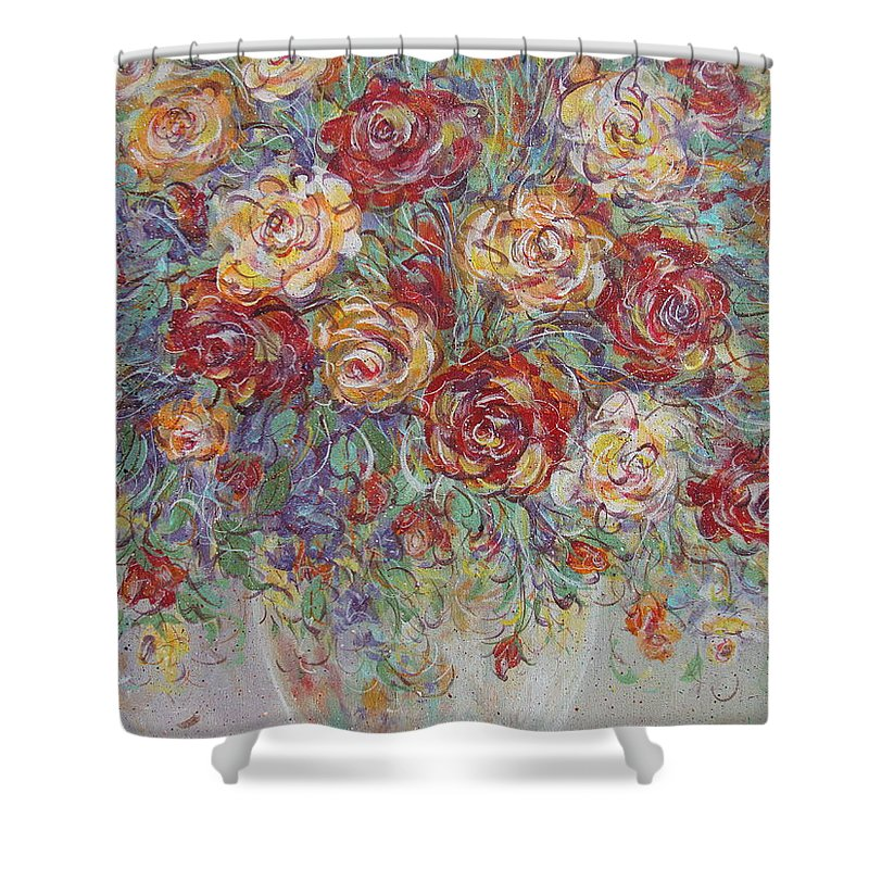 Flowers Shower Curtain featuring the painting Double Delight. by Natalie Holland