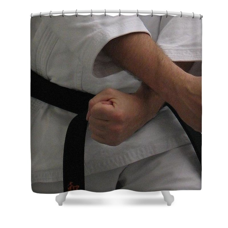 Karate Shower Curtain featuring the photograph Double Fisted by Kelly Mezzapelle