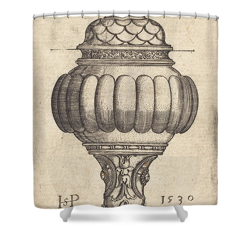 Shower Curtain featuring the drawing Double Goblet With Oval Decorations by Sebald Beham