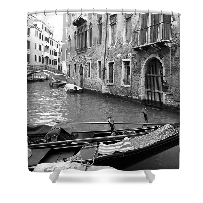 Venice Shower Curtain featuring the photograph Double Parked by Donna Corless