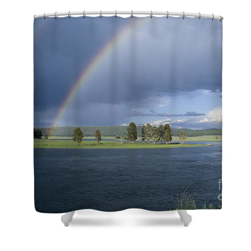 Yellowstone Shower Curtain featuring the photograph Double Rainbow At Alum Creek by Sandra Bronstein