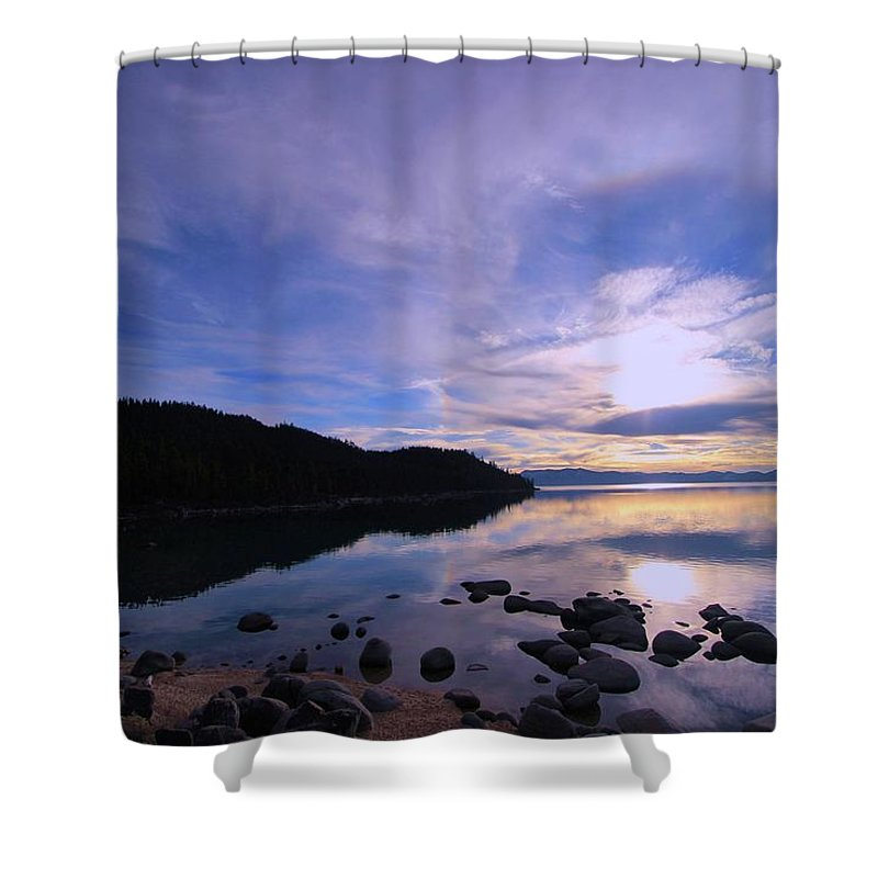 Lake Tahoe Shower Curtain featuring the photograph Double Sundog At Sunset by Sean Sarsfield