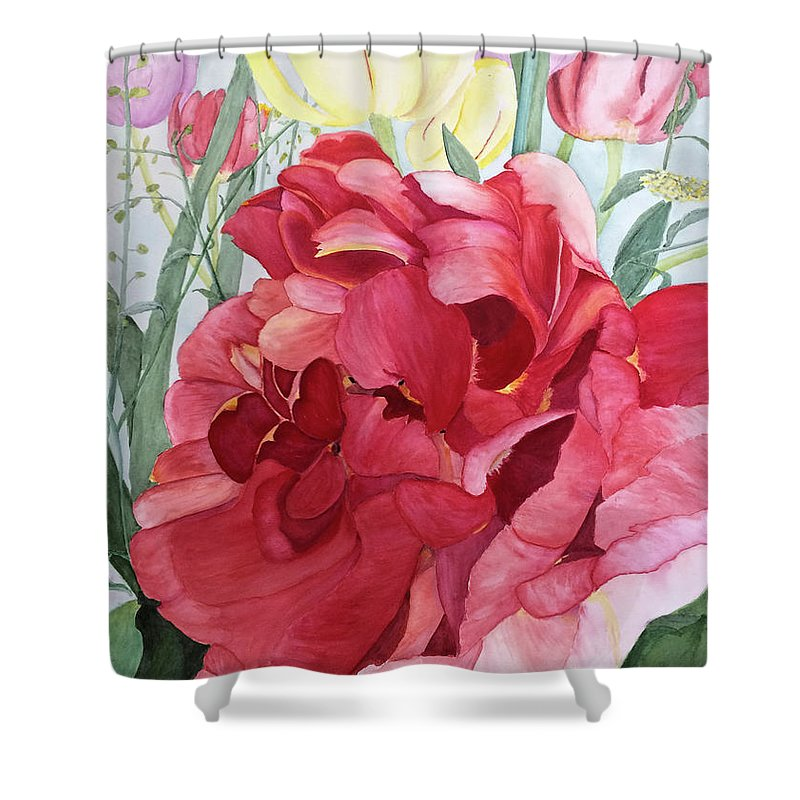Tulip Shower Curtain featuring the painting Double Tulip by Bonnie Young