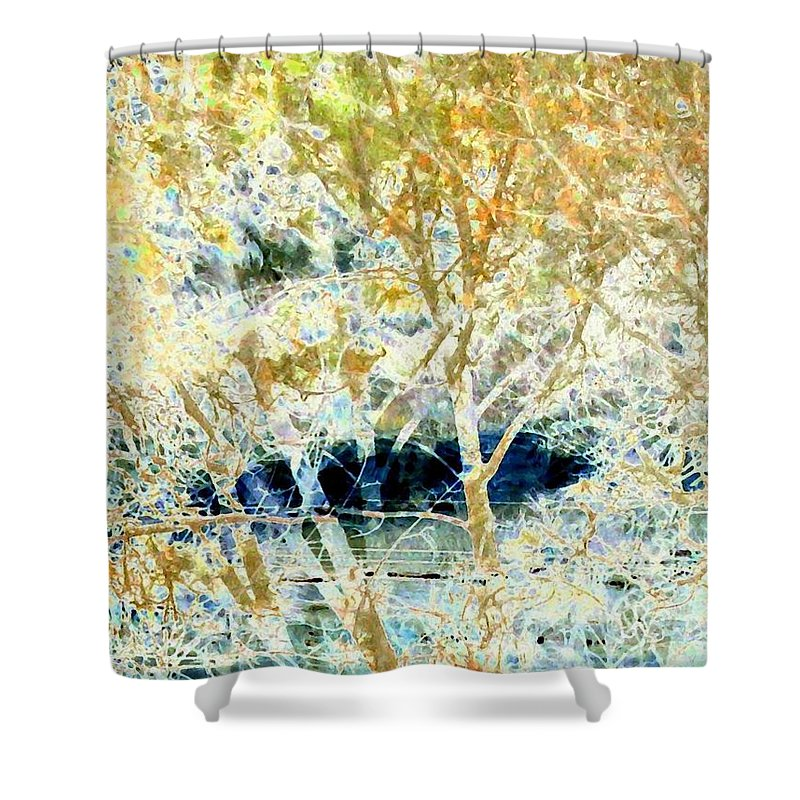 Abstract Shower Curtain featuring the digital art Double Vision by Will Borden