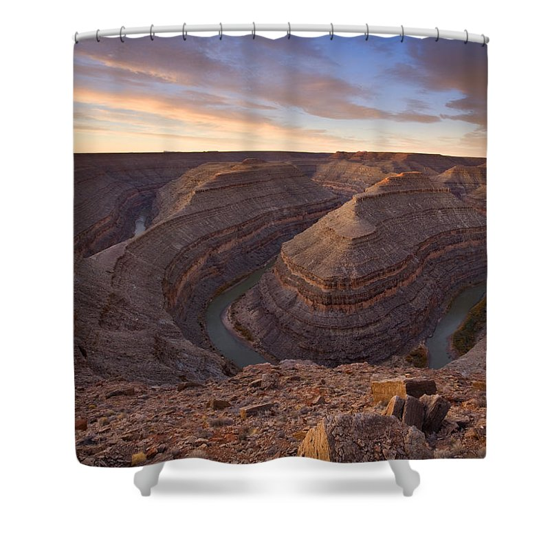 Goosenecks State Park Shower Curtain featuring the photograph Doubleback by Mike Dawson