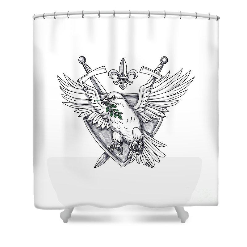 Tattoo Shower Curtain Featuring The Digital Art Dove Olive Leaf Sword Crest By Aloysius Patrimonio