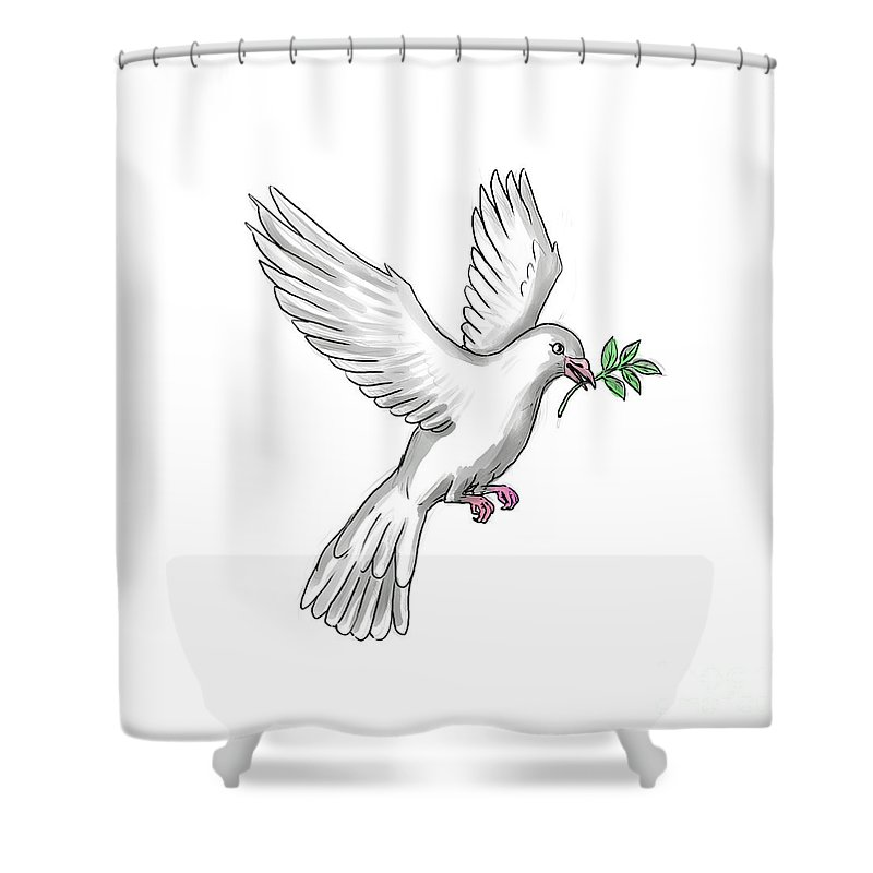 Tattoo Shower Curtain Featuring The Digital Art Dove Olive Leaf By Aloysius Patrimonio