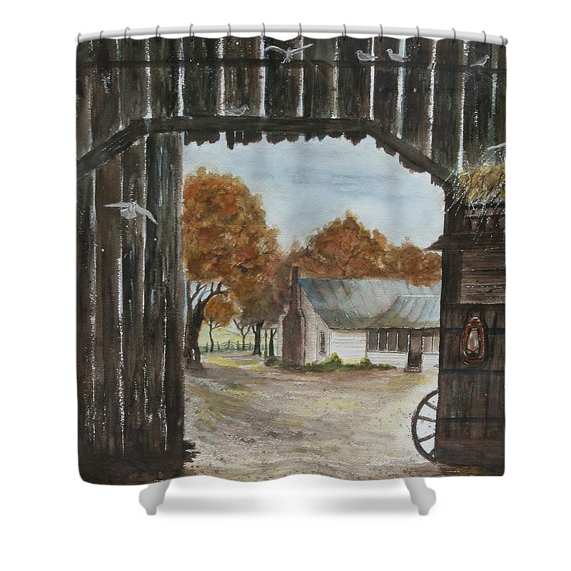 Grandpa And Grandma's Homeplace Shower Curtain featuring the painting Down Home by Ben Kiger