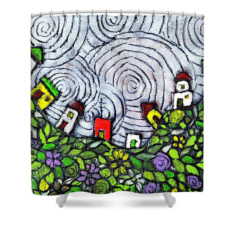 Folk Art Shower Curtain featuring the painting Down In The Valley by Wayne Potrafka
