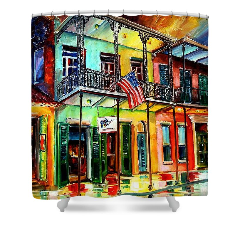 New Orleans Shower Curtain featuring the painting Down On Bourbon Street by Diane Millsap