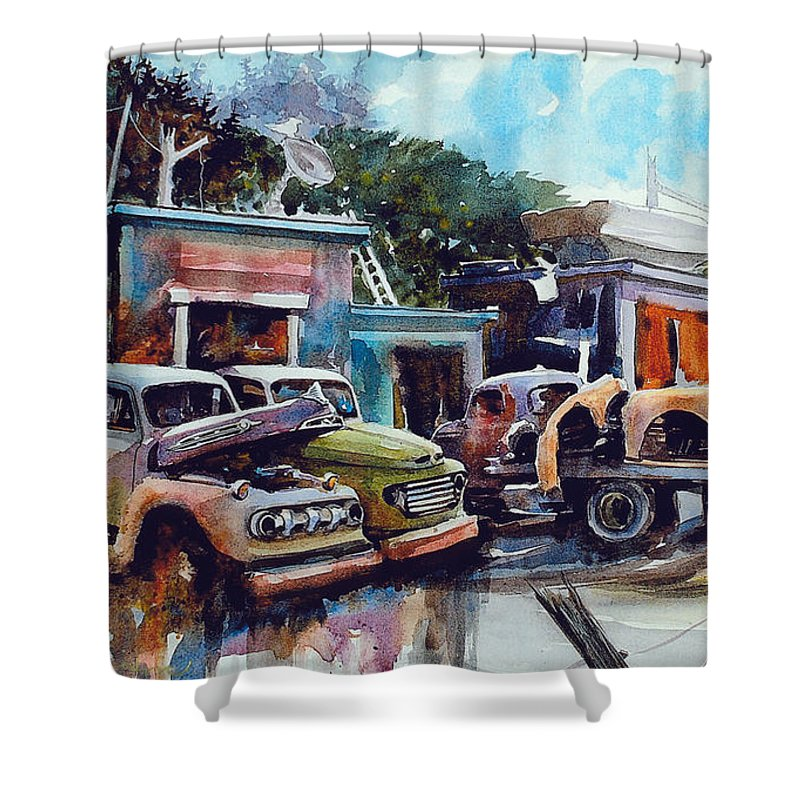 Trucks Shower Curtain featuring the painting Down on the Lower Road by Ron Morrison