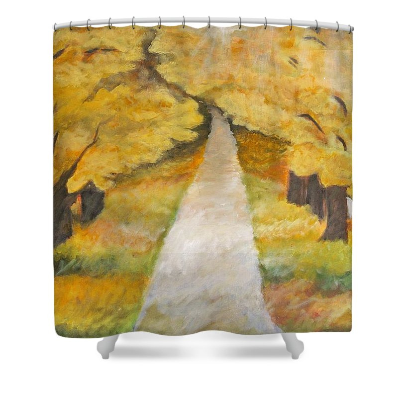 Trees Shower Curtain featuring the painting Down The Lane by Teresa Henry