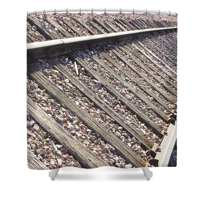 Railroad Shower Curtain featuring the photograph Down The Railroad by James BO Insogna