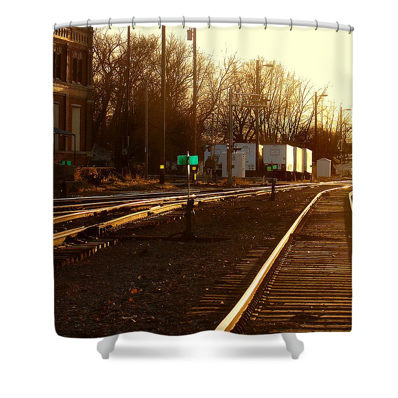 Landscape Shower Curtain featuring the photograph Down The Right Track by Steve Karol