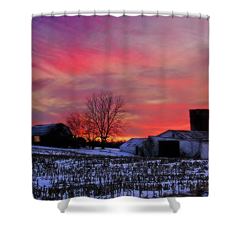 Rural Shower Curtain featuring the photograph Down The Street From Daranya's House by Steve Karol